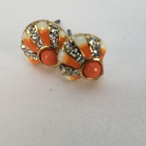 Betsy Johnson Super Cut Coral and Crystal Studs